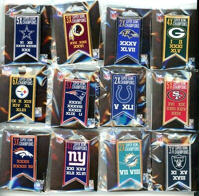 Nfl Multiple Time Super Bowl Champs Banner Pin Choice 12 Pins To Choose From