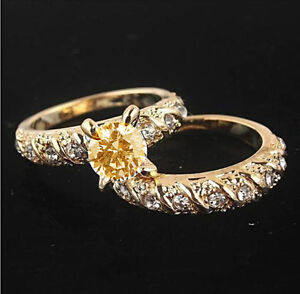 18K Yellow Gold Filled AC Wedding Ring & Band Set, Size 8 - New