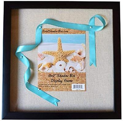 """12x12"""" Black Shadow Box Frame with Linen Background with 8 Stick Pins"""