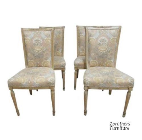 4 Custom Distressed Italian Regency Carved Dining Room Side Chairs D Set