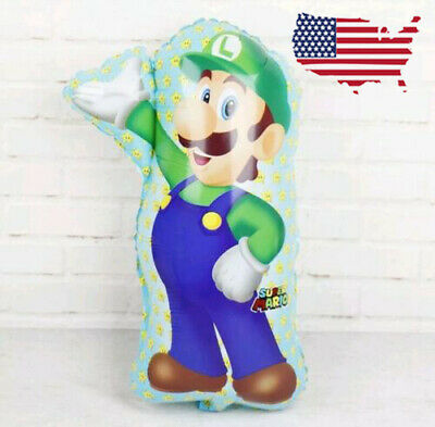 XL Supershape Luigi Balloon Super Mario Birthday Party Balloon foil Helium - Mario Balloon
