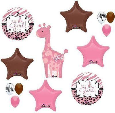 GIRAFFE Girl SAFARI Jungle Zebra Pink Brown BABY Shower 13 Mylar BALLOONS Set