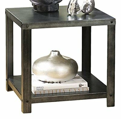 NEW Hattney Vintage Casual Square End Table Industrial Style Gray FREE SHIP