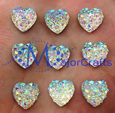 60pcs Crystal AB 12mm Flat Back HEART Resin Rhinestones Embellishment Craft Gems