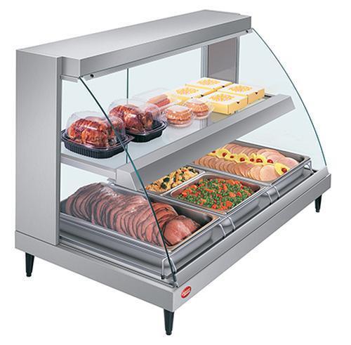 "Hatco Grcd-3pd-120-qs 45.5""w Curved Glass Dual Shelf Merchandiser Display Case"