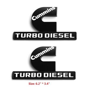 2x Big OEM Cummins Turbo Diesel Emblems Dodge RAM 2500 3500 Fender Black White F