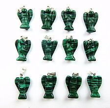 12PCS Wholesale unique black green malachite carved rabbit pendant bead Vk4393