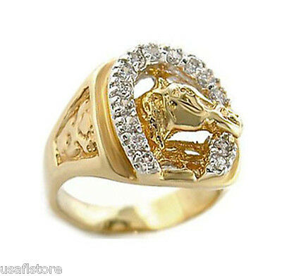Mens Russian CZ Horseshoe 18kt Gold EP Tutone Ring New - Gold Mens Horseshoe