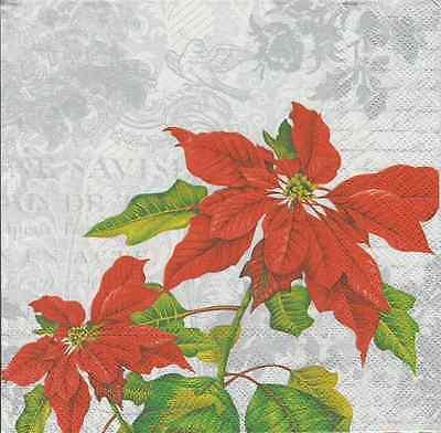 IHR Christmas Poinsettia Collage White 4 Single Napkins Decoupage