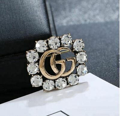 Fashion Pin GG Inspired Double G Brooch Gold with Rhenstones