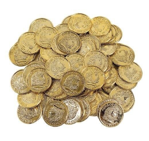 144 Plastic Pirate Birthday Favor Gold Play Treasure Toy Coins