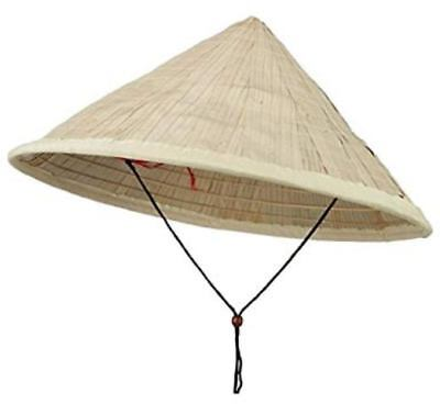 BAMBOO COOLIE CHINESE CONICAL COSTUME HAT ASIAN JAPANESE STRAW SUN RICE FARMER
