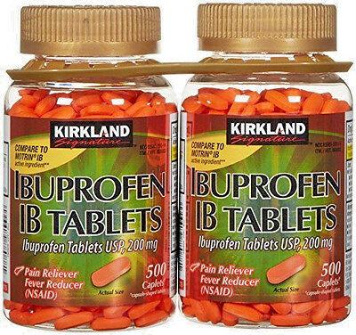 Kirkland Signature Ibuprofen Ib Tablets 500 2000 Caplets 200Mg Nsaid Pain Fever