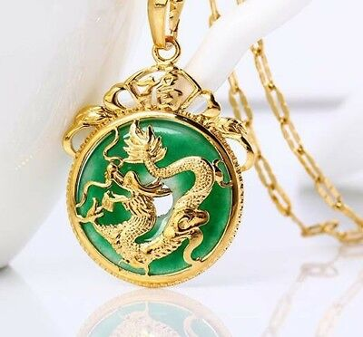 24K Gold Plated Dragon Pendant Malaysia Jade Jewelry Chain Necklace 7/8