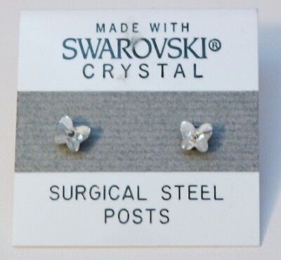 Small Butterfly Earrings - Silver Butterfly Stud Earrings 4mm Small Crystal Made with SWAROVSKI ELEMENTS