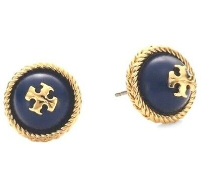 Gold Tone Rope Earrings (Tory Burch Rope Logo  Studs Earrings Gold Tone BLUE  NEW On Card with Dust)