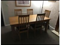 Solid Oak Table & 5 Chairs