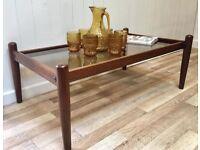 Danish Mid Century teak & smoked glass coffee table