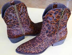 Leopard Print Leather Short Western Boots Size 6.5 M