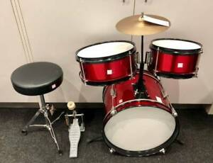 KIDS MINI 4 PIECE DRUM KIT WITH PEDAL AND SEAT #235295 Lawnton Pine Rivers Area Preview