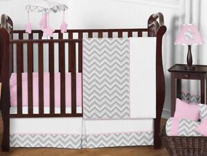 Unique Pink Grey & White Chevron Zig Zag Bumperless Baby Girls Crib Bedding Set