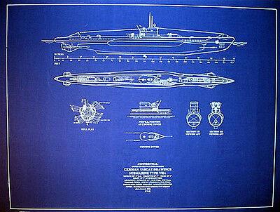 "Vintage German UBOAT WW2 Submarine Type VIIA Blueprint Plan 24""x30"" (060)"