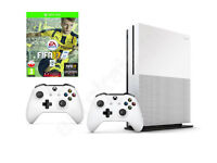 Xbox One S - Hardly used, in original box with two wireless controllers, power, HDMI & network cable
