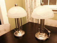 Set of two matching lamps with marbled glass shades