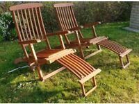 Hardwood garden Steamer lounger chairs