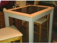 Solid oak +Granite Table Set. ...Free local delivery. ..