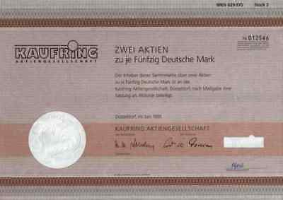 KAUFRING AG 1991 Erwege Düsseldorf Erlangen Kaufhaus HEKA 100 DM Einkaufsverband