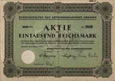 Kunstanstalt Verlag May 1942 Dresden Fürth Aschaffenburg 1000 RM Gewinnanteile