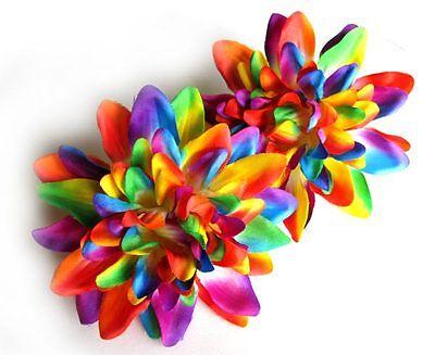 "2X Artificial Silk Rainbow Dahlia Flower Heads 4"" for Decorate Clip Wedding Home"