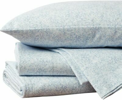 COYUCHI ORGANIC BRUSHED FLANNEL KING SHEET SET BLUE FOREST CLOUD NEW