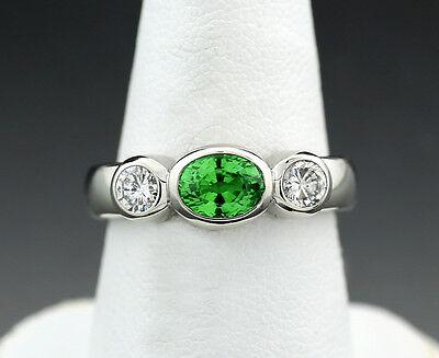 Ring grüner Granat 2 Brillanten 1,50 carat 900-Platin 10 Gr. Wert € 4600 (38189) ()