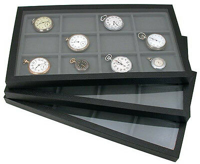 3 Acrylic Top Jewelry Display Storage Cases With 12 Compartment Gray Inserts
