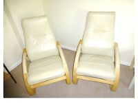 2 Ikea style lightweight armchairs.