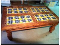 Mexican pine tiled coffee table ideal for conservatory