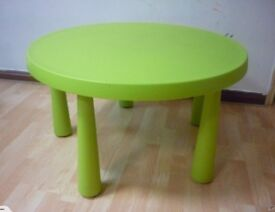 Children's Ikes MAMMUT plastic round table and 2 stools