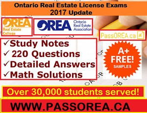 15$ OREA REAL ESTATE LICENSE EXAM QUESTIONS & STUDY GUIDE 2017