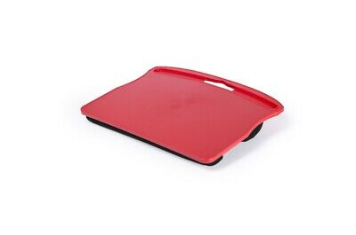 Soporte para Ordenador Portatil. Acolchado. Color Negro, Rojo y Azul.