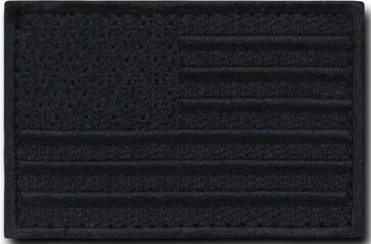 USA AMERICAN FLAG TACTICAL US MILITARY BLACK VELCRO® BRAND FASTEN PATCH