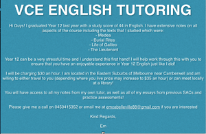 VCE ENGLISH TUTORING Mont Albert North Whitehorse Area Preview