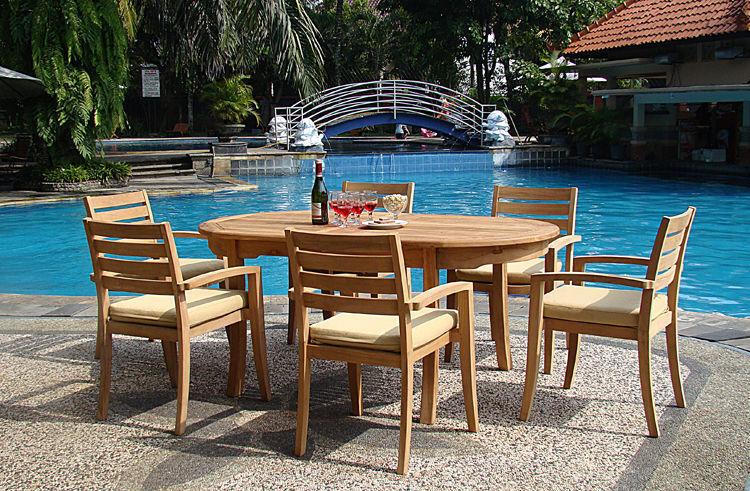 """7-piece Outdoor Teak Dining Set: 94"""" Oval Extn Table, 6 Stacking Arm Chairs Trav"""