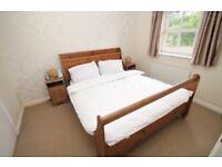 King size solid wood bed frame & 2 bedside tables