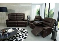 Ronnie Luxury Bonded Leather Recliner Suite