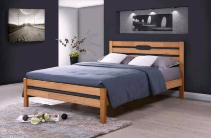 Oak timber bed frame - brand new