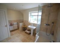Bathroom suite, includes bath, shower, shower screen, sink, toilet