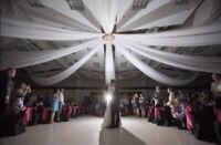 Ceiling drapery, chandelier and string lights kit for rent