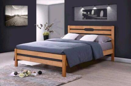 Oak Timber Bed Frame - Strong Light Design